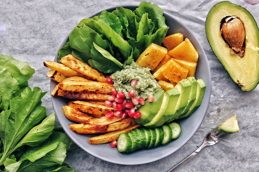 pumpkin sweet potato buddha bowl with creamy mustard