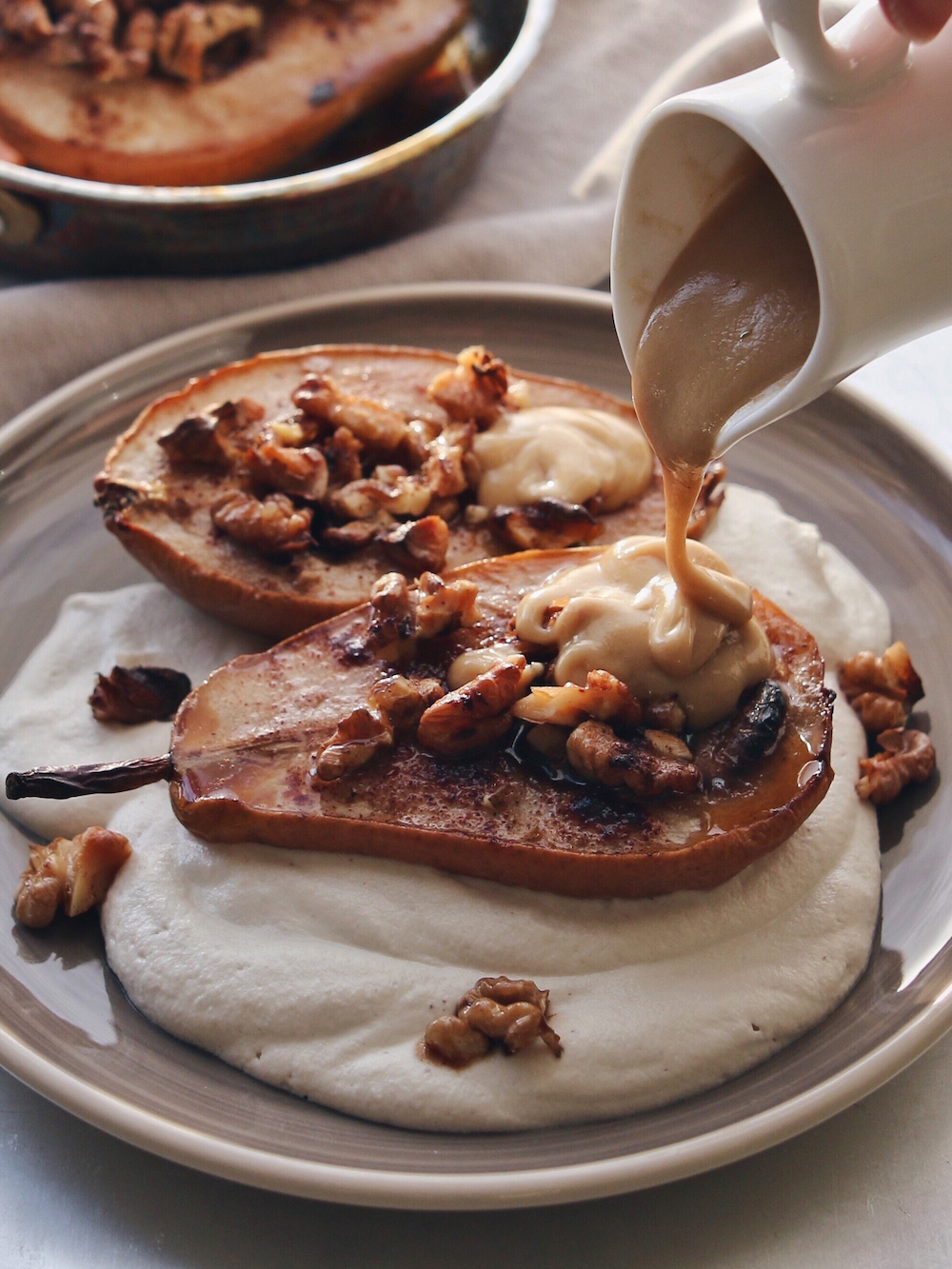 ROASTED PEARS WITH CASHEW CREAM AND SWEET TAHINI SAUCE | black.white ...
