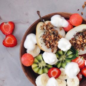 Breakfast Bowl with Fruits, Granola & Milk Foam