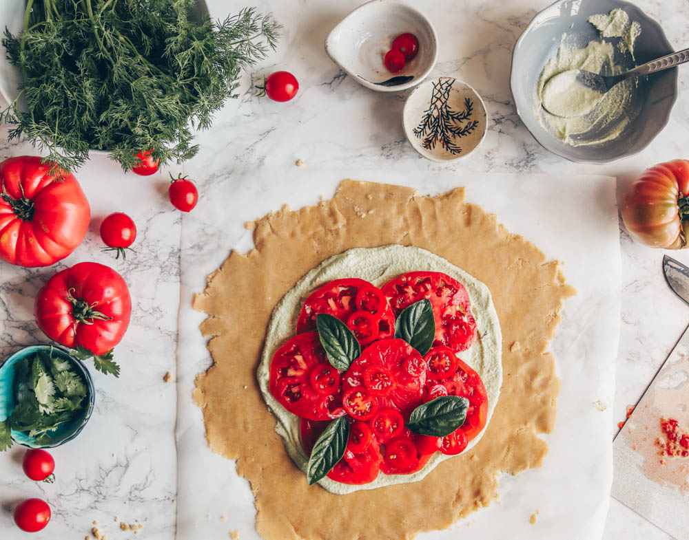 Heirloom Tomato Galette with Dill Cashew-Cream (vegan + gluten-free) by black.white.vivid