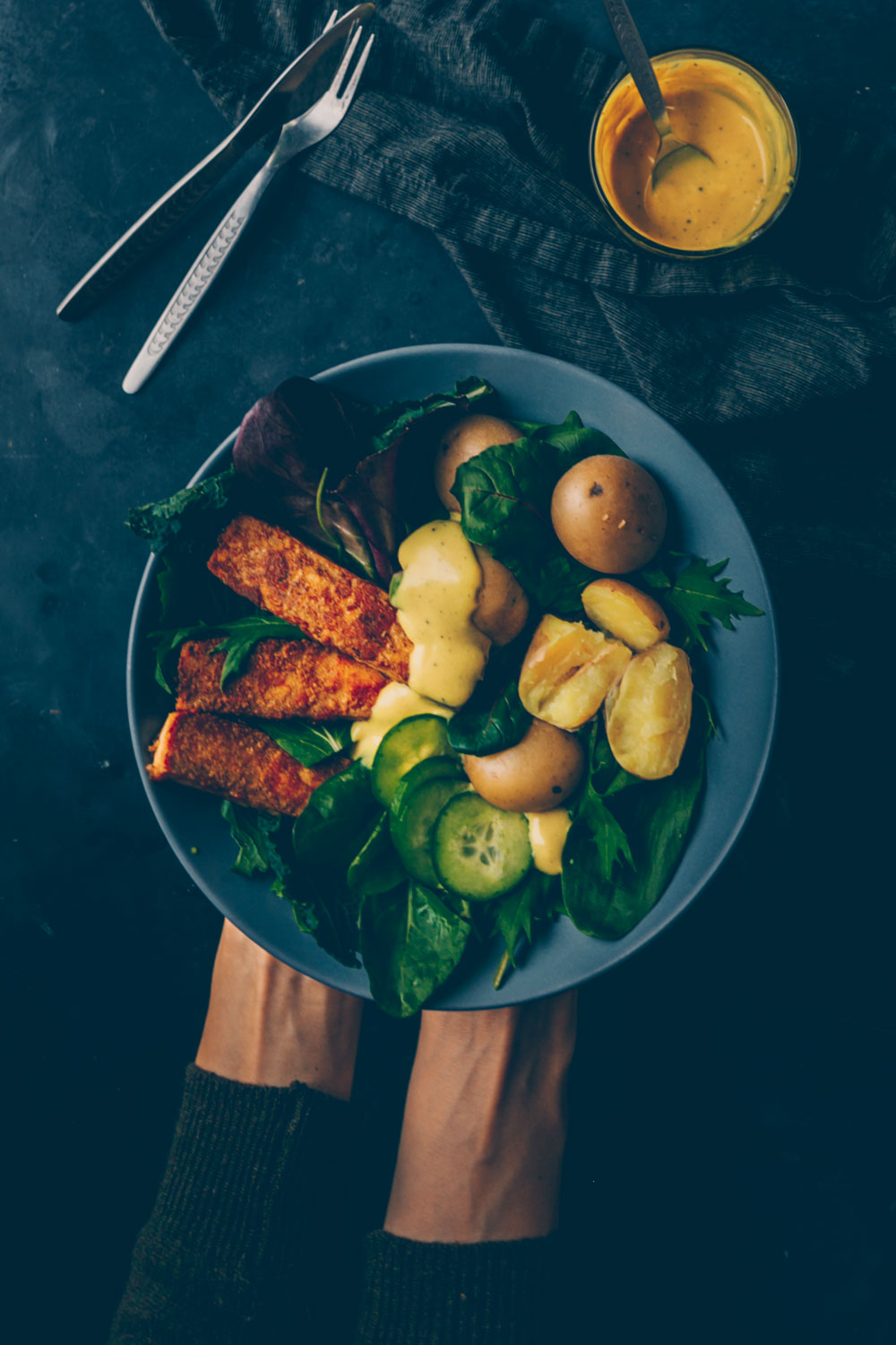 Crispy Tofu Bowl with Baby Potatoes & Mustard Coconut Dressing by Kati of black.white.vivid.