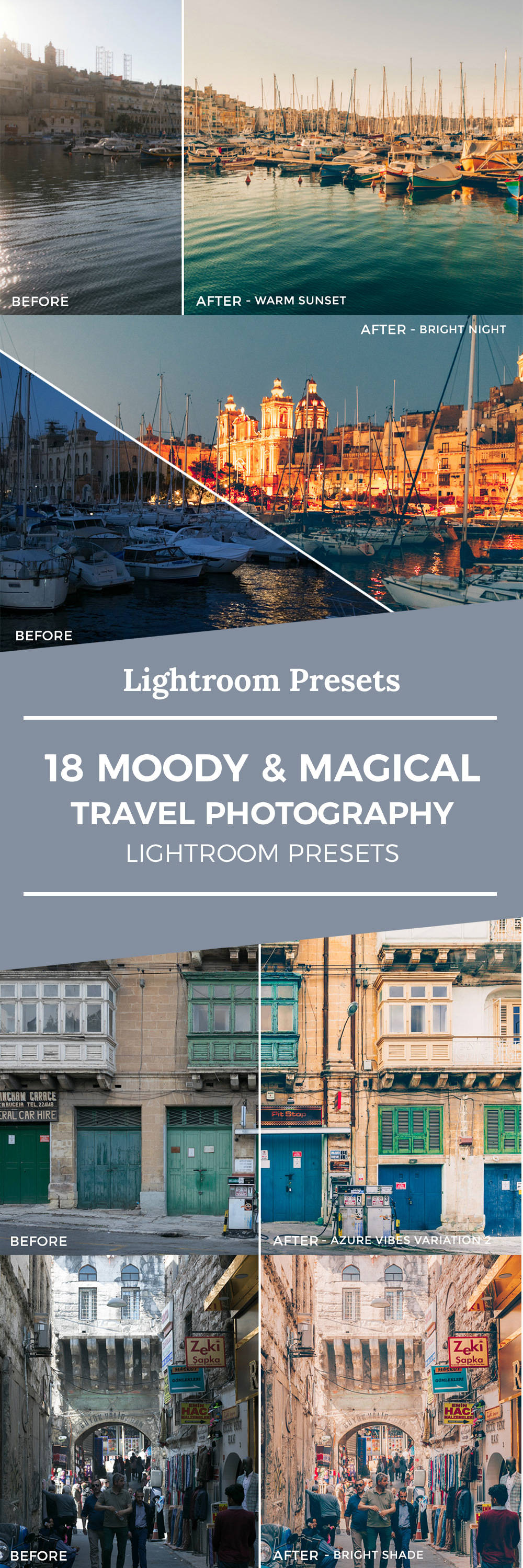 18 Moody & Magical Travel Photography Lightroom Presets - Ever taken photos on your holidays and felt like they just didn't capture the moment correctly? Therefore I created various presets for Lightroom that I personally use for all my travel and lifestyle photos. These Lightroom filters create that magic glow, that warm atmosphere and that cozy yet tropical feeling you've been missing on your photos. The set of filters for your travel photos includes 18 moody and magical presets.