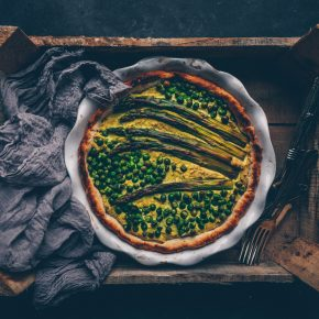 "French ""Hello Spring"" Pea Asparagus Quiche (vegan) by Kati of black.white.vivid."