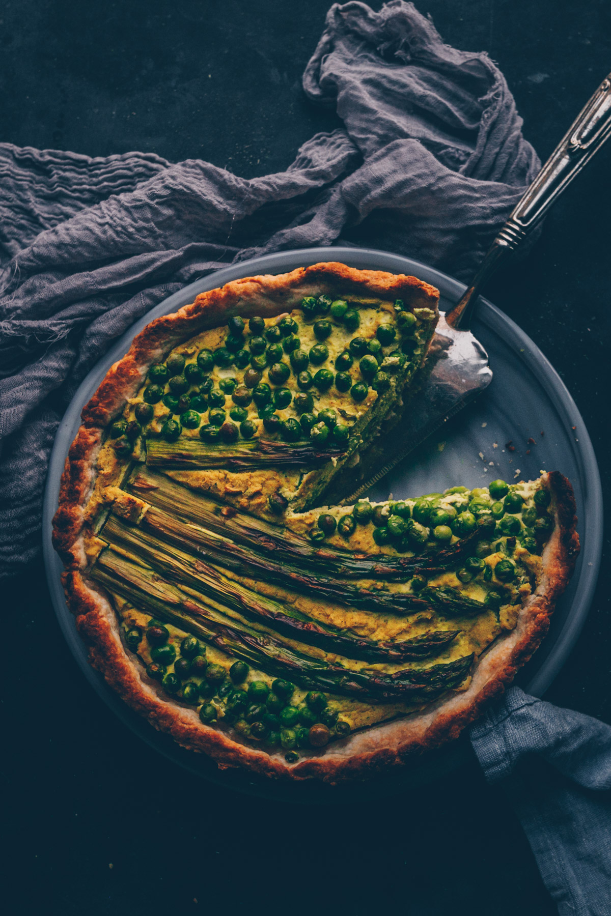 "French ""Hello Spring"" Pea Asparagus Vegan Quiche by Kati of black.white.vivid."
