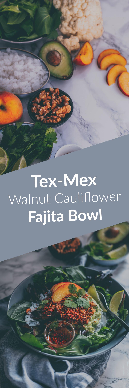 Tex-Mex Walnut Cauliflower Fajita Bowl with rice and salad (Vegan Recipe) by Kati of black.white.vivid.