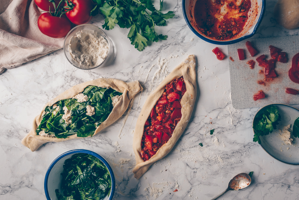 Turkish Pide Two Ways (Turkish Pizza with Two Different Toppings) by Kati of black.white.vivid. (Vegan Recipe)_1