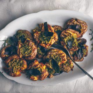 American Smashed Roasted Potatoes with Pesto by Kati of black.white.vivid. (Vegan Recipes)