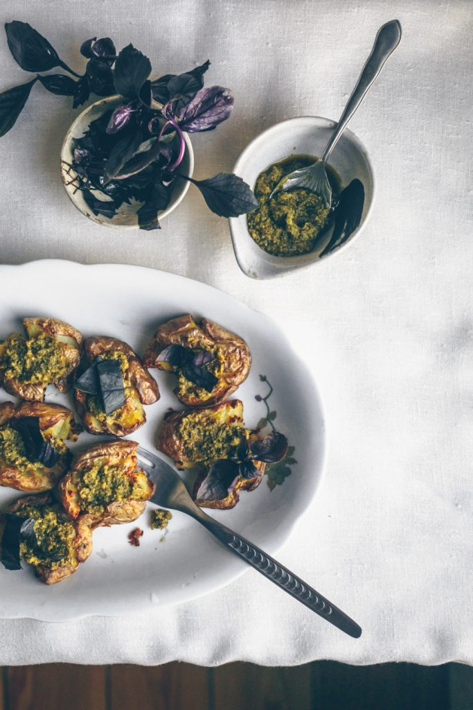 American Smashed Roasted Potatoes with Pesto by Kati of black.white.vivid. (Vegan Recipes)