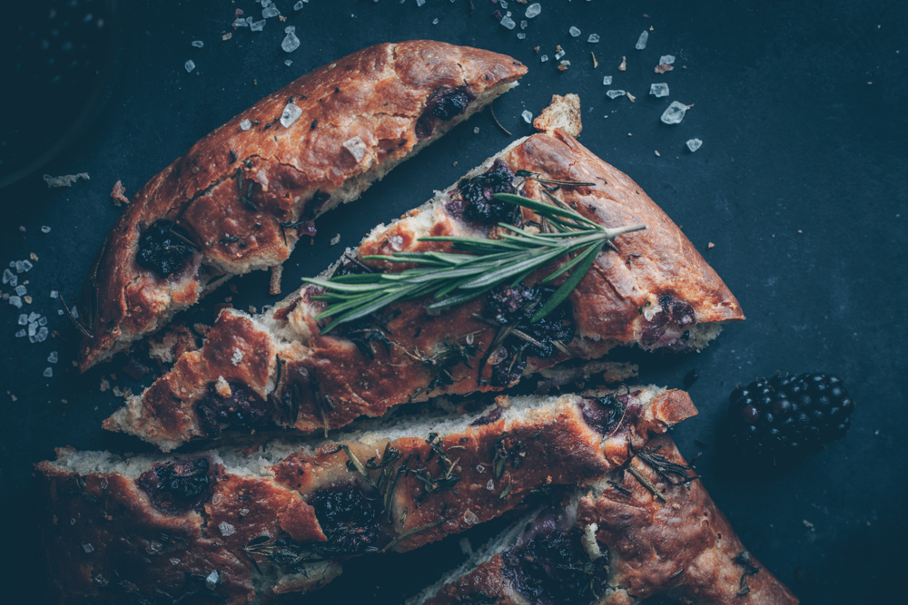 Italian Crispy Blackberry Rosemary Focaccia by Kati of black.white.vivid. (Vegan Recipes)