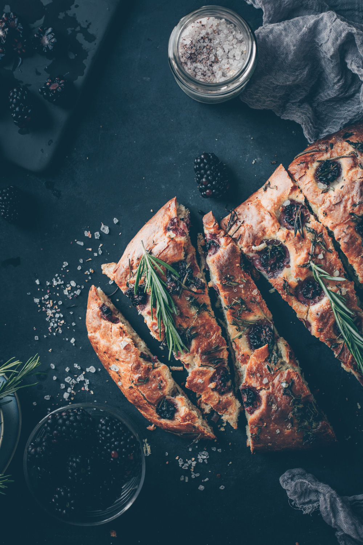 Italian Crispy Blackberry Rosemary Focaccia by Kati of black.white.vivid. (Vegan Recipes)
