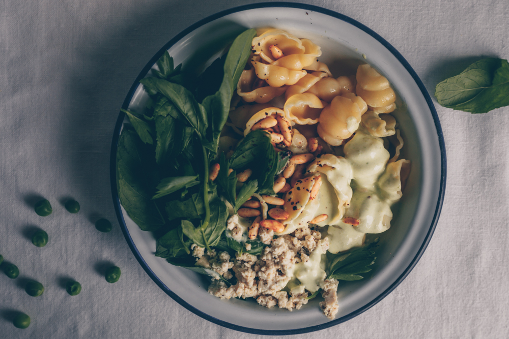 Middle Eastern Pasta with Yoghurt, Peas and Herb Salad by Kati of black.white.vivid. (Vegan Recipe)
