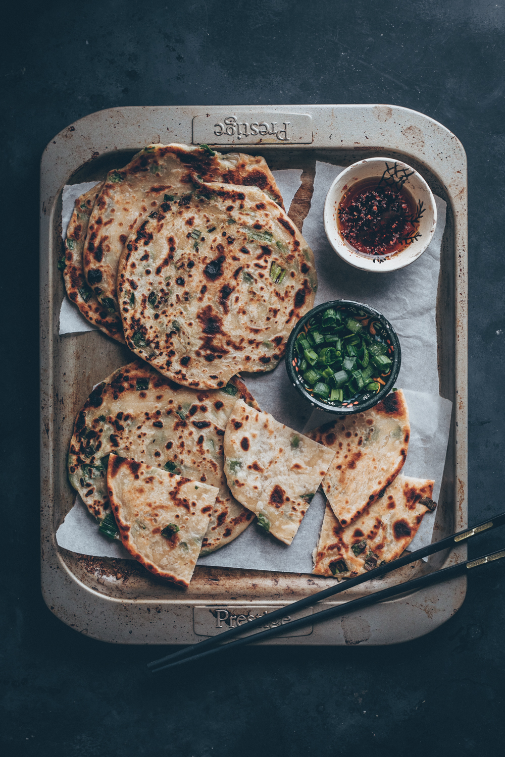 Chinese Scallion Pancakes (Cong You Bing) or also known as Chinese Spring Onion Pancakes - A Vegan Recipe by Kati of black.white.vivid. - food photography, food styling, moody food photography, Chinese recipe, Chinese cuisine, Vegan Chinese recipe