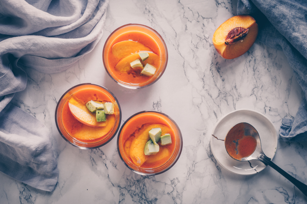 Spanish Peach and Tomato Gazpacho - A Chilled Summer Soup - from blender to bowl - A Vegan recipe by Kati of black.white.vivid. - food photography, food styling, international cuisine, plant-based recipes