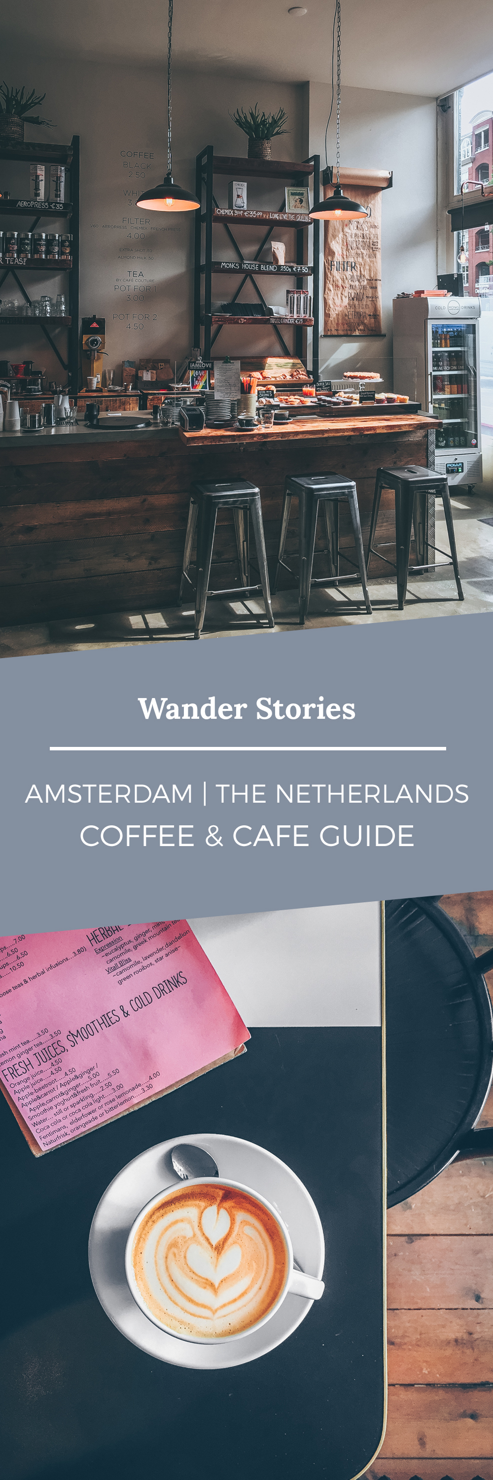 Wander Stories | Amsterdam Coffee Guide - Falling back in love with Amsterdam and (its) coffee by Kati of black.white.vivid. - travel guide, Amsterdam coffee guide, Amsterdam best coffee spots, Amsterdam food guide, Amsterdam restaurants, Amsterdam Cafes, Amsterdam Coffee Shop, travel photography, city photography, matte photography