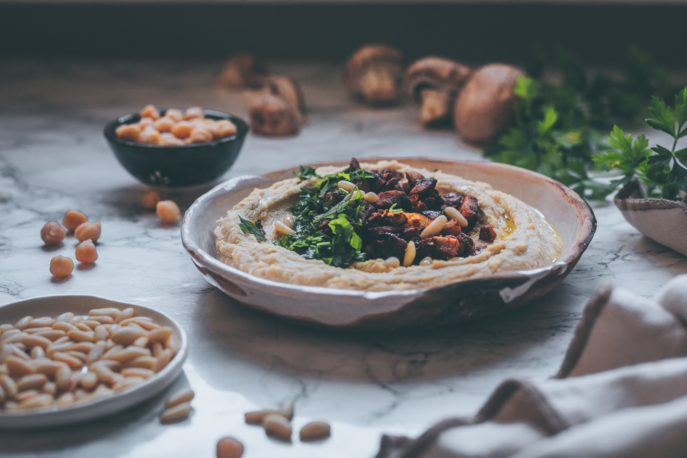 Warm Hummus with Minced Mushrooms - A Vegan recipe by Kati of black.white.vivid. - food photography, food styling, moody photography, middle eastern recipe, syrian recipe, middle eastern cuisine, hummus recipe, ottolenghi hummus
