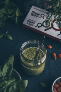 Vegan Fresh Herb Pesto - A Pinnerstest Result Recipe by Kati of black.white.vivid. - food styling, vegan recipe, moody food photography, vegan pesto recipe, blood test, food intolerance test, potato allergy, tomato allergy, moody photography