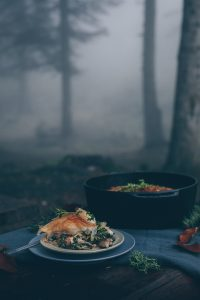Turkish Borek Pie with Mushrooms & A Weekend Trip to the Bolu Province in Turkey - A Vegan Recipe by Kati of black.white.vivid. - food photography, travel photography, Vegan Börek, Vegan Borek, moody food photography, picnic, outdoor scene, forest, moody photography, camp food, camping food