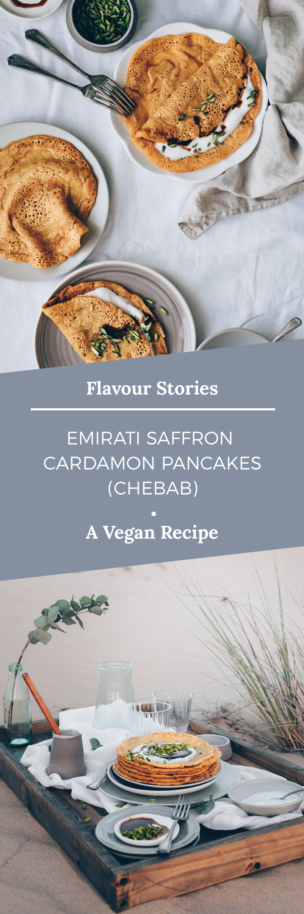 Emirati Saffron Cardamon Pancakes (Chebab) - A Vegan Recipe by Kati of black.white.vivid. // food photography, food styling, desert food, Ramadan recipe, Emirate cuisine, UAE, desert picnic