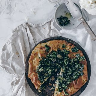 Filo Galette with Truffle Cashew Cream and Cheezy Kale Chips - A Vegan Recipe by Kati of black.white.vivid. // food photography, French Cuisine, French Recipe, Food Styling, Vegan Food, Vegan Galette, Vegan Filo, Vegan Phyllo