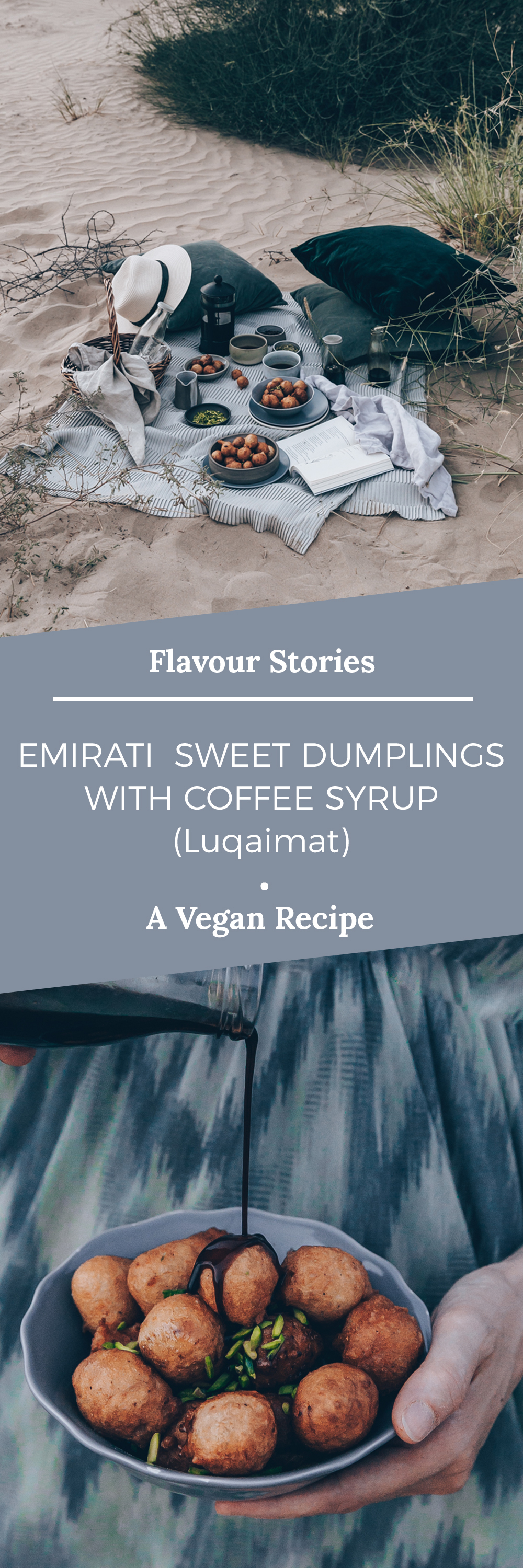 Emirati Sweet Dumplings With Coffee Syrup (Luqaimat) - A Vegan Recipe by Kati of black.white.vivid. / #VirtualCoffeeParty2018 food styling, desert photography, food photography, plant-based recipe, Lower Gulf cuisine, UAE recipe, Vegan Arab recipe, Vegan Arabic recipe, picnic photography